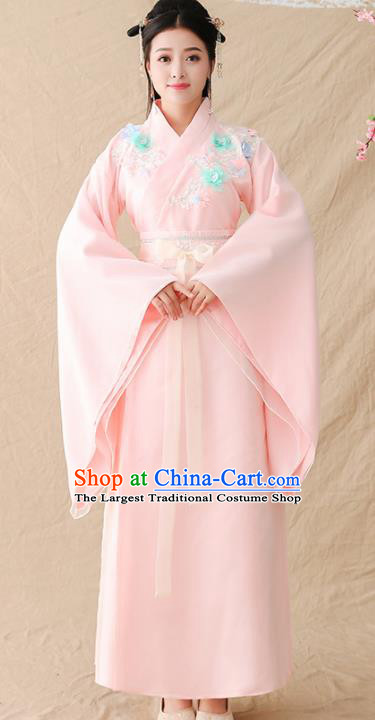 Chinese Ancient Drama Court Princess Pink Hanfu Dress Traditional Jin Dynasty Palace Lady Replica Costumes for Women