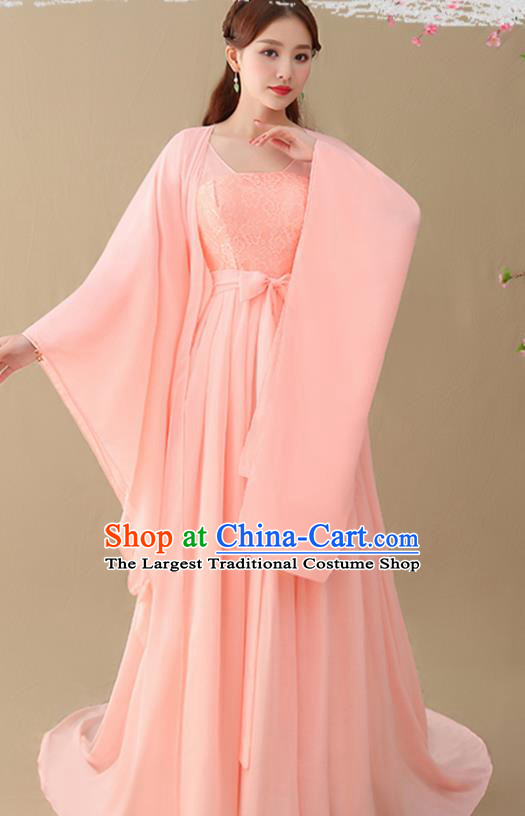 Chinese Ancient Drama Goddess Pink Hanfu Dress Traditional Tang Dynasty Imperial Consort Replica Costumes for Women
