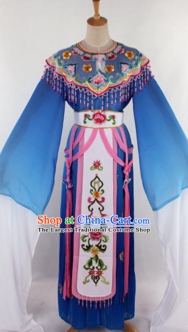 Chinese Traditional Beijing Opera Princess Blue Dress Ancient Peking Opera Diva Costume for Women