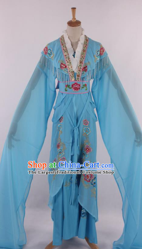 Chinese Traditional Beijing Opera Peri Blue Dress Ancient Peking Opera Diva Princess Costume for Women