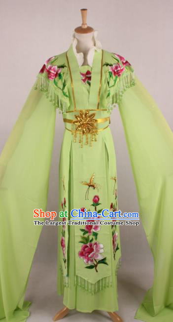 Professional Chinese Beijing Opera Nobility Lady Green Dress Ancient Traditional Peking Opera Diva Costume for Women