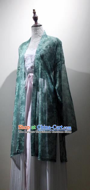 Chinese Ancient Drama Printing Green Hanfu Dress Traditional Song Dynasty Young Lady Replica Costumes for Women