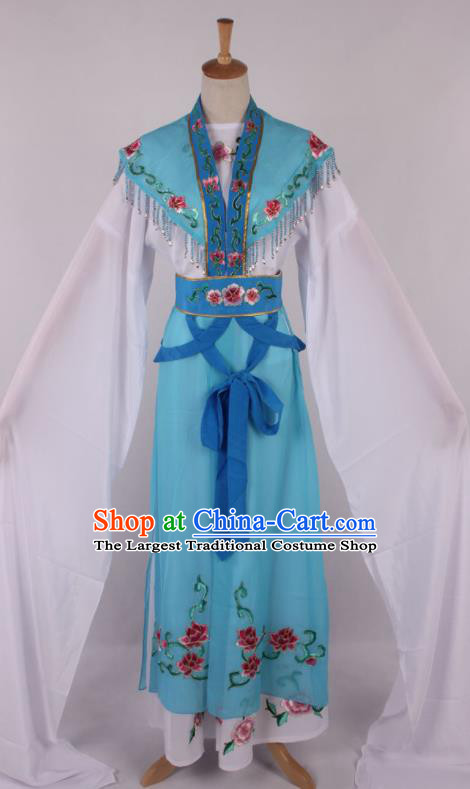 Chinese Traditional Beijing Opera Actress Princess Blue Dress Ancient Peking Opera Diva Costume for Women