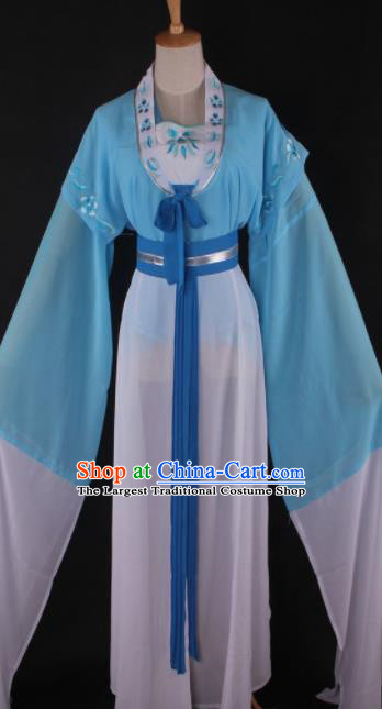 Professional Chinese Beijing Opera Maidservant Blue Dress Ancient Traditional Peking Opera Diva Costume for Women