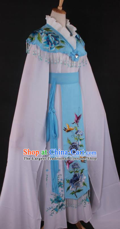 Professional Chinese Beijing Opera Princess Blue Dress Ancient Traditional Peking Opera Diva Costume for Women