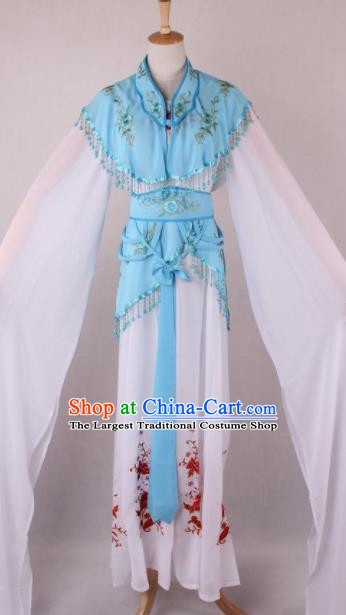 Professional Chinese Beijing Opera Court Lady Blue Dress Ancient Traditional Peking Opera Costume for Women