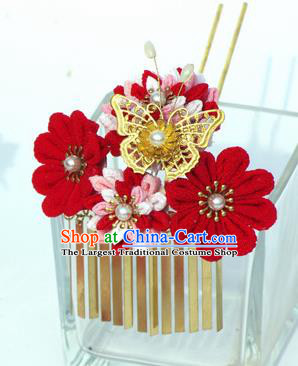Japanese Geisha Kimono Butterfly Flower Hairpins Traditional Yamato Hair Accessories for Women
