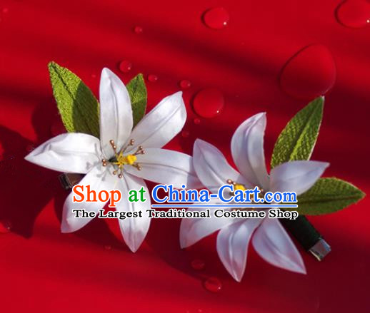 Japanese Geisha Kimono Lily Flower Hair Claw Hairpins Traditional Yamato Hair Accessories for Women