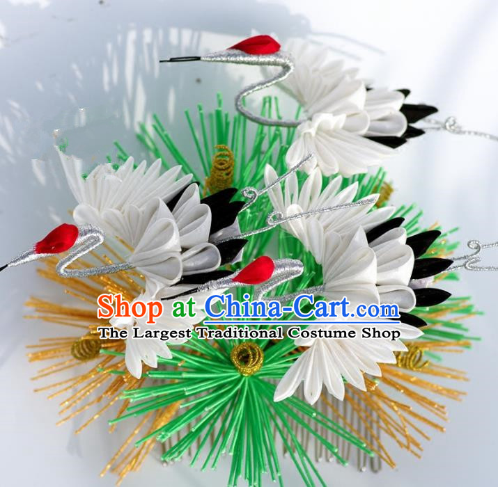 Japanese Geisha Kimono Pine Cranes Hair Comb Hairpins Traditional Yamato Hair Accessories for Women