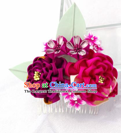Japanese Geisha Kimono Purple Camellia Hair Comb Hairpins Traditional Yamato Hair Accessories for Women