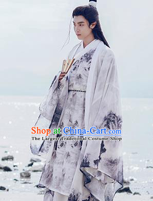 Traditional Chinese Jin Dynasty Nobility Childe Historical Costume Ancient Drama Swordsman Hanfu Clothing for Men