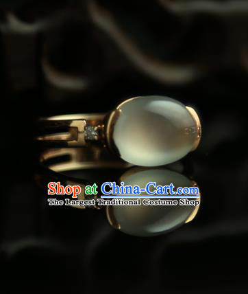 Chinese Ancient Court Opal Ring Traditional Princess Hanfu Jewelry Accessories for Women
