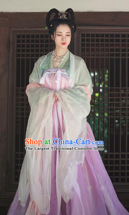 Chinese Traditional Tang Dynasty Court Princess Replica Costumes Ancient Peri Goddess Hanfu Dress for Women