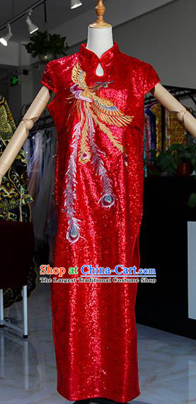 Chinese Traditional Red Cheongsam Classical Stage Show Qipao Dress for Women
