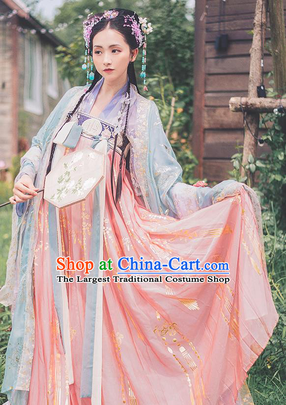 Traditional Chinese Tang Dynasty Court Princess Hanfu Dress Ancient Goddess Replica Costumes for Women