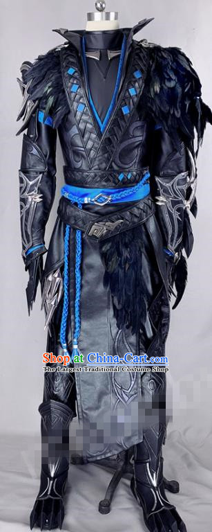 Chinese Ancient Drama Cosplay Young Knight Black Armor Clothing Traditional Hanfu Swordsman Costume for Men