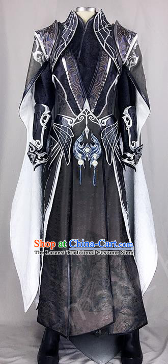 Chinese Ancient Drama Cosplay Royal Highness Young Knight Black Clothing Traditional Hanfu Swordsman Costume for Men