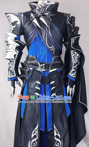 Chinese Ancient Drama Cosplay General Black Armor Clothing Traditional Hanfu Swordsman Costume for Men