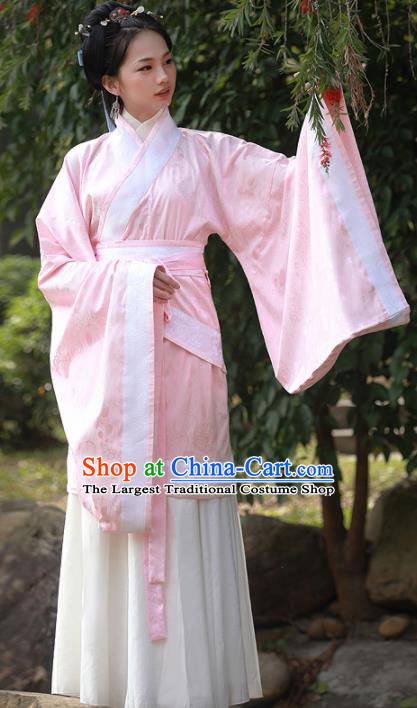 Chinese Traditional Han Dynasty Court Princess Replica Costumes Ancient Palace Lady Curving Front Robe Hanfu Dress for Women