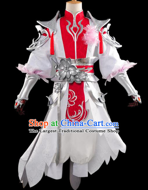 Chinese Ancient Drama Cosplay Young General Armor Knight Clothing Traditional Hanfu Swordsman Costume for Men