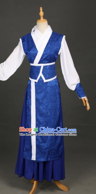 Chinese Ancient Drama Cosplay Young Knight Royalblue Clothing Traditional Hanfu Swordsman Costume for Men