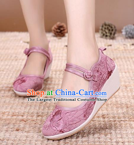 Asian Chinese Traditional Embroidered Peony Pink Shoes Hanfu Shoes National Cloth Shoes for Women