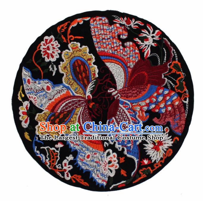 Chinese Ancient Handmade Embroidered Butterfly Black Patch Traditional Embroidery Appliqu Craft for Women