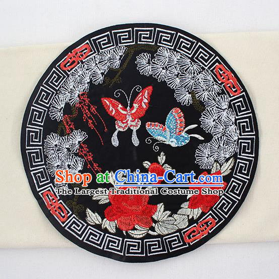 Chinese Ancient Handmade Embroidered Butterfly Peony Black Patch Traditional Embroidery Appliqu Craft for Women