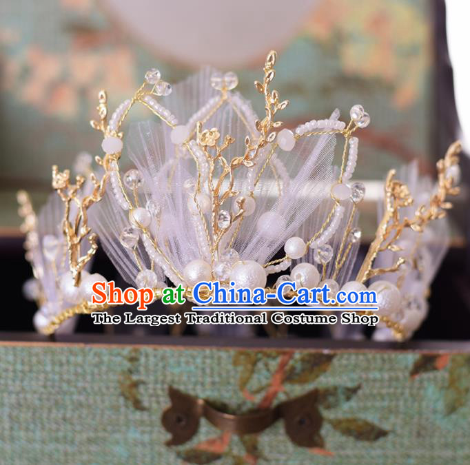 Top Grade Handmade Baroque Beads Royal Crown Traditional Princess Wedding Hair Accessories for Women