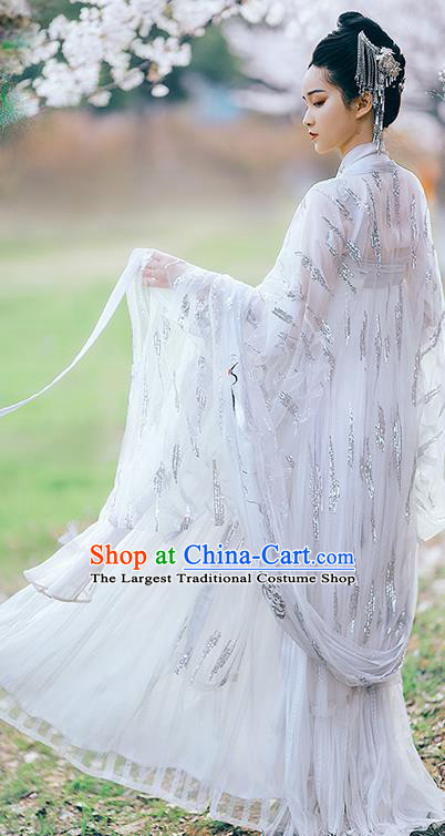 Traditional Chinese Tang Dynasty Imperial Consort White Hanfu Dress Ancient Flower Goddess Replica Costumes for Women
