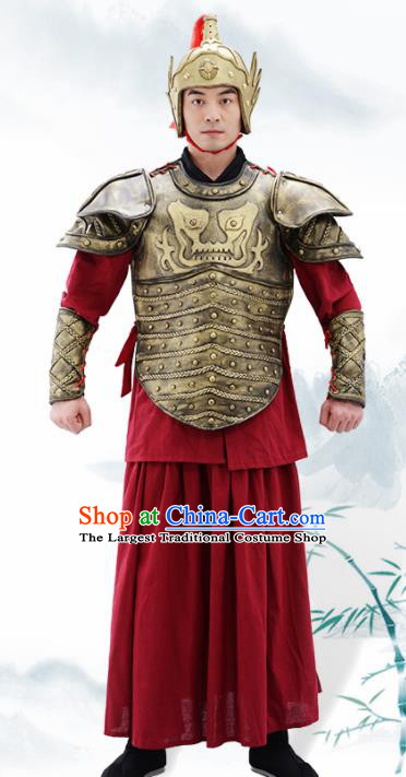 Traditional Chinese Ming Dynasty Warrior Helmet and Armour Ancient Drama General Costumes for Men