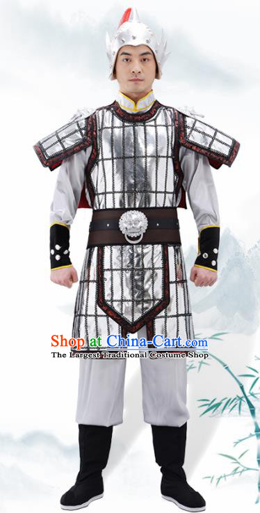Traditional Chinese Tang Dynasty Warrior Argent Helmet and Armour Ancient Drama General Costumes for Men