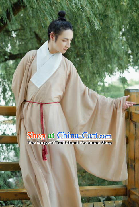 Traditional Chinese Ming Dynasty Childe Robe Ancient Drama Scholar Taoist Priest Replica Costumes for Men