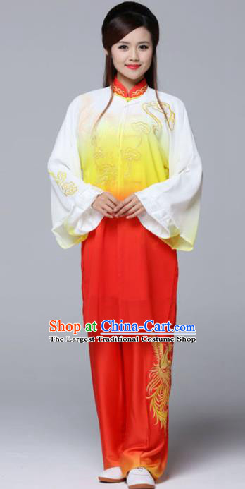 Professional Chinese Martial Arts Gradient Red Costume Traditional Kung Fu Competition Tai Chi Clothing for Women