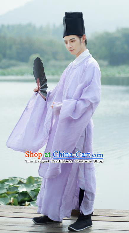 Traditional Chinese Ming Dynasty Childe Scholar Purple Robe Ancient Drama Taoist Priest Replica Costumes for Men