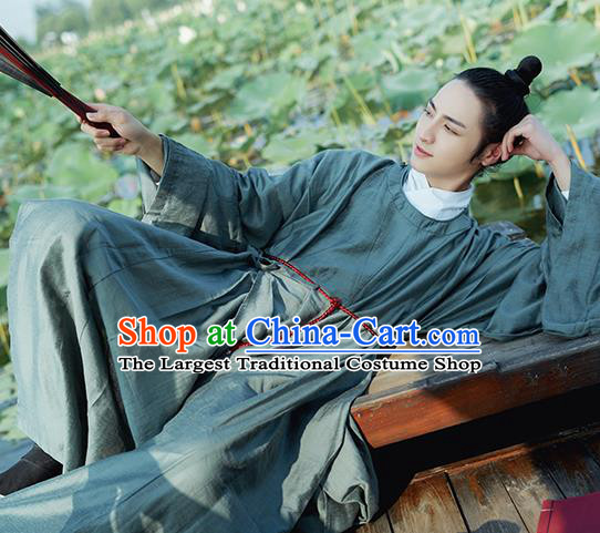 Traditional Chinese Ming Dynasty Scholar Childe Navy Robe Ancient Drama Taoist Priest Replica Costumes for Men