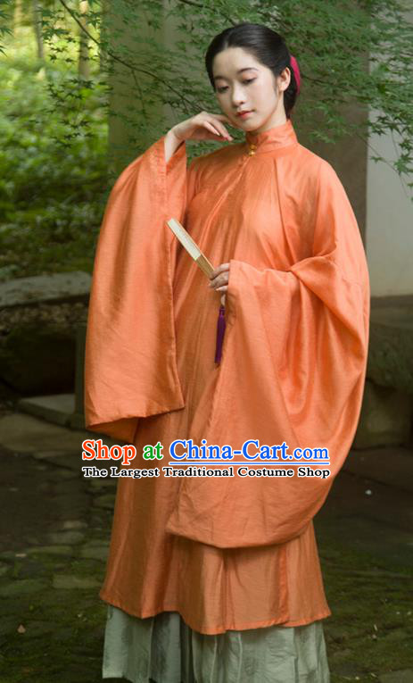 Traditional Chinese Ming Dynasty Palace Lady Orange Long Gown Ancient Drama Princess Replica Costumes for Women