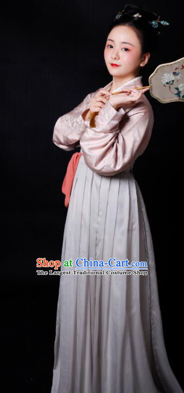 Traditional Chinese Song Dynasty Las Meninas Hanfu Dress Ancient Drama Court Maid Replica Costumes for Women