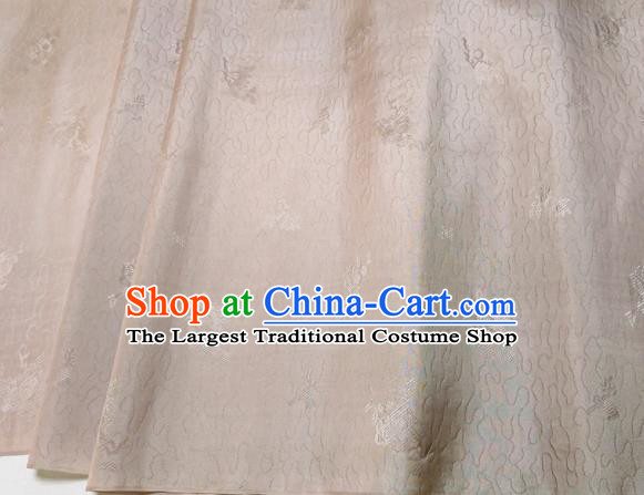 Asian Chinese Traditional Pattern Design Beige Brocade Silk Fabric China Hanfu Satin Material