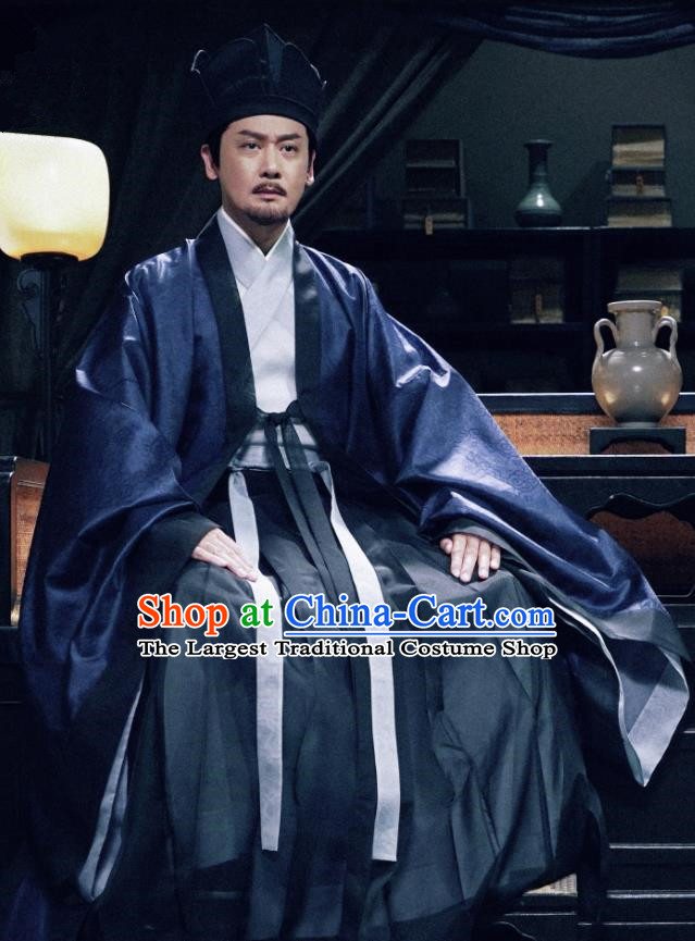 Chinese Ancient Song Dynasty Palace Assistant Secretary Drama Royal Nirvana Lu Ying Replica Costumes and Hat Complete Set