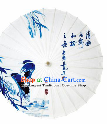 Chinese Traditional Printing Egret White Oil Paper Umbrella Artware Paper Umbrella Classical Dance Umbrella Handmade Umbrellas
