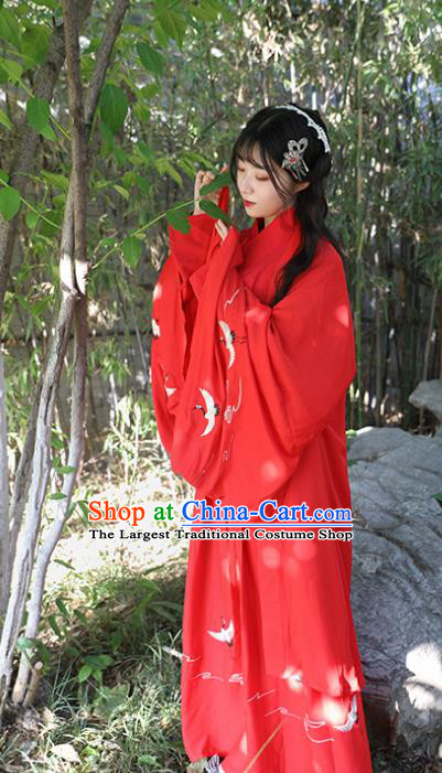 Chinese Drama Ancient Nobility Lady Red Dress Traditional Jin Dynasty Court Costume for Women