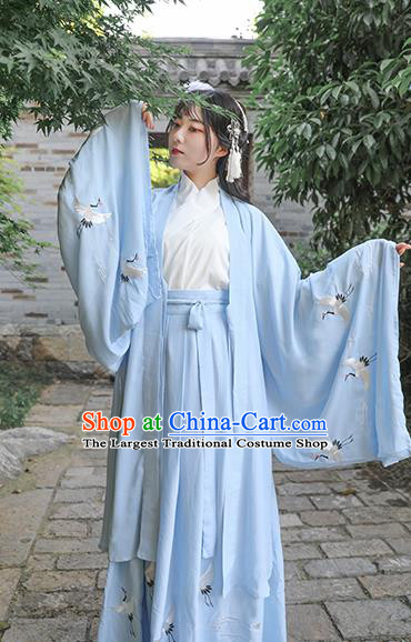 Chinese Drama Ancient Nobility Lady Blue Dress Traditional Jin Dynasty Court Costume for Women