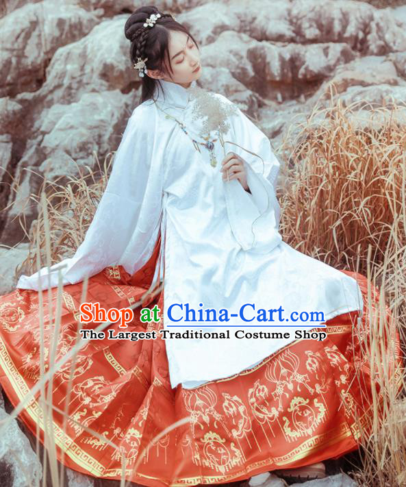 Chinese Drama Ancient Nobility Lady Red Dress Traditional Ming Dynasty Court Costumes for Women
