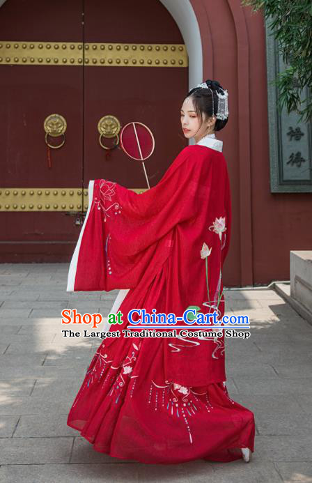 Chinese Drama Ancient Court Princess Red Hanfu Dress Traditional Song Dynasty Palace Lady Costumes for Women