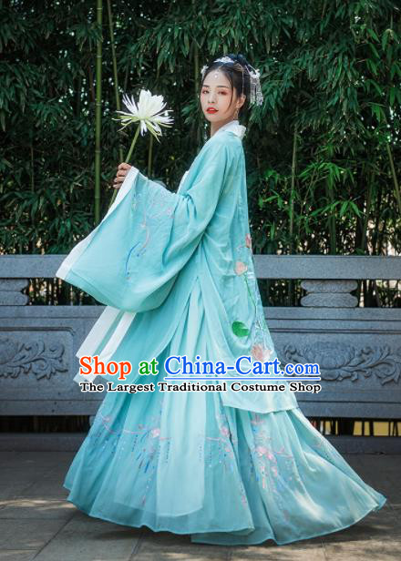 Chinese Drama Ancient Court Princess Blue Hanfu Dress Traditional Song Dynasty Palace Lady Costumes for Women