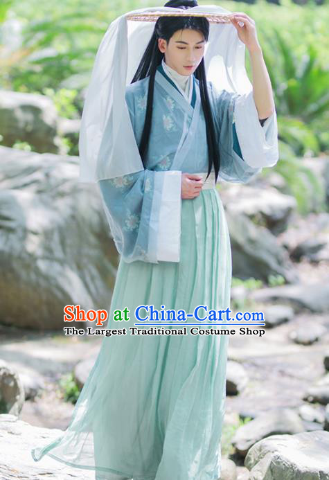 Chinese Ancient Swordsman Costumes Traditional Jin Dynasty Nobility Childe Clothing for Men
