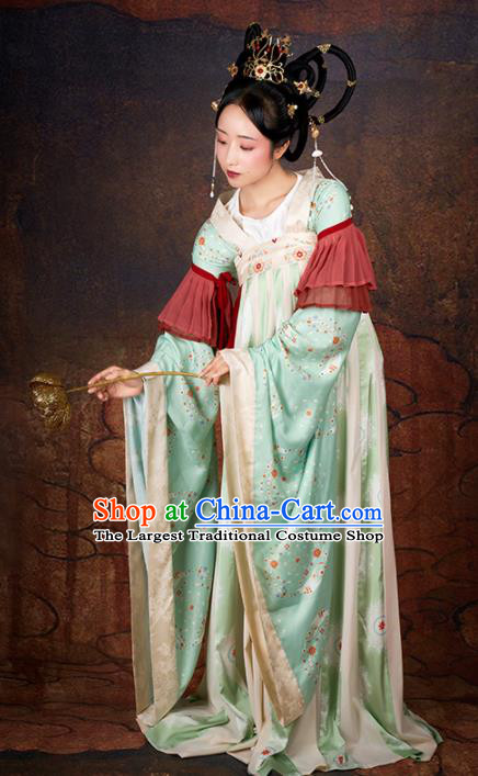 Chinese Traditional Tang Dynasty Palace Lady Costumes Ancient Drama Imperial Consort Green Hanfu Dress for Women