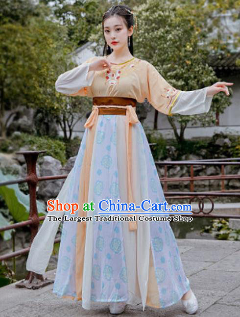 Chinese Traditional Tang Dynasty Palace Maid Costumes Ancient Drama Goddess Hanfu Dress for Women