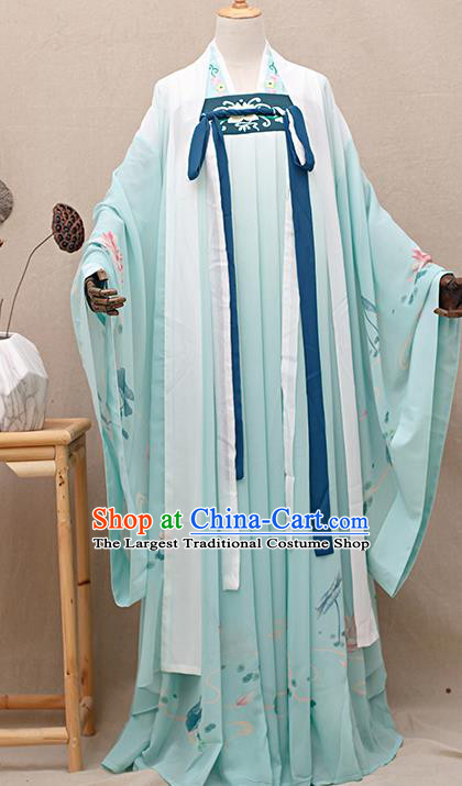 Chinese Ancient Tang Dynasty Nobility Lady Light Green Hanfu Dress Traditional Court Princess Costumes for Women